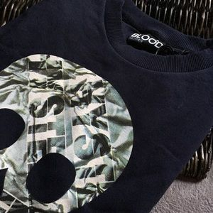 Blood Brother Skull Print Sweatshirt Medium navy